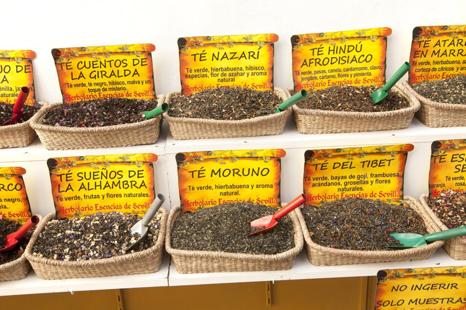 Close up display of various types of herbal tea, Seville