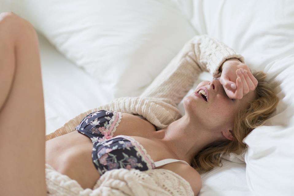 Young woman in bedroom Sex masturbation Covid-19 coronavirus