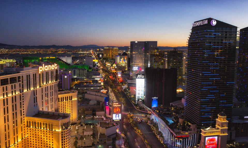 Las  Vegas strip at sunset luxury hotel real estate development
