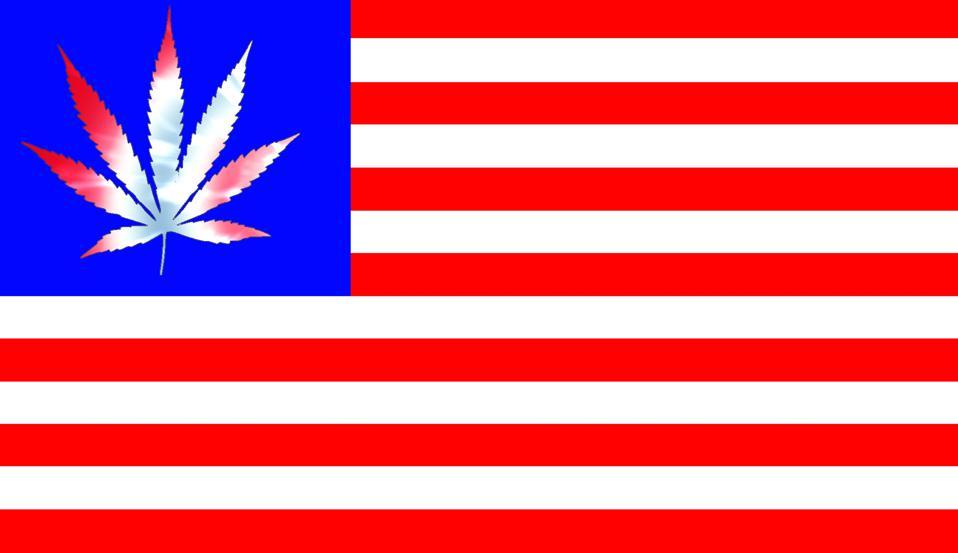 United States flag with tie-dye marijuana leaf