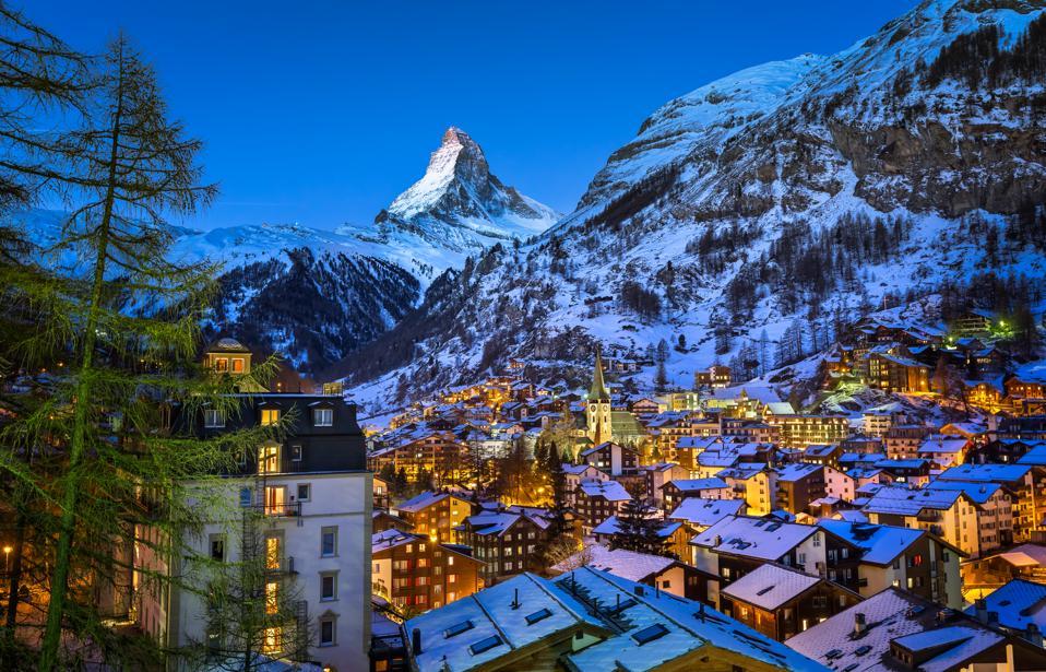 Aerial View of Zermatt Valley and the Matterhorn, Switzerland