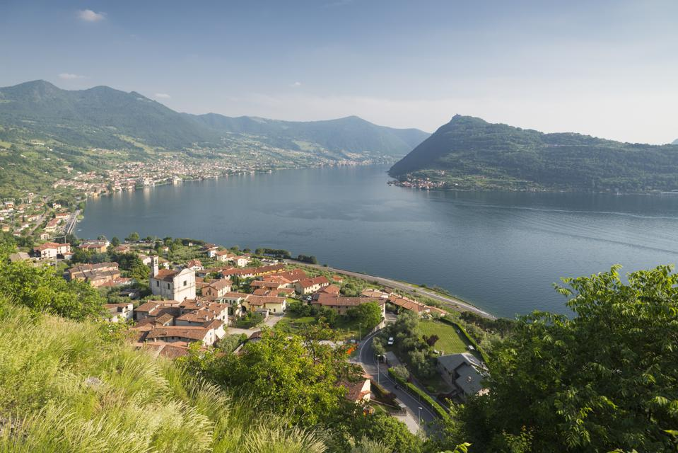 Panorama of Lake Iseo and Monte Isola island in Italy