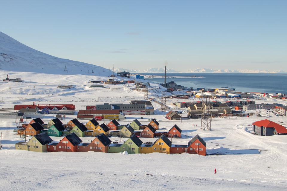 A panoramic view of Longyearbyen, Svalbard, Norway.