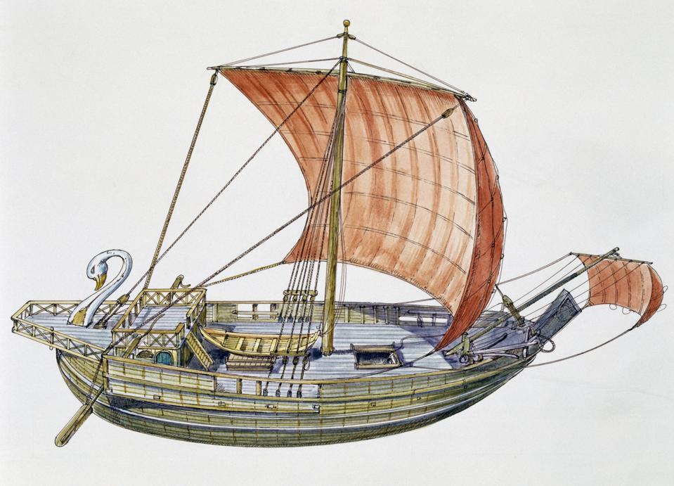 Roman cargo ship with square sail...