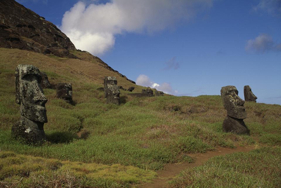 Moai near Rano Raraku volcano
