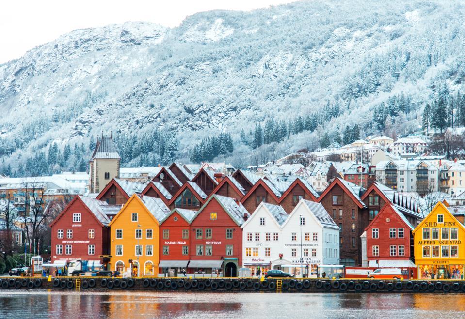 Hanseatic houses in Bryggen at winter