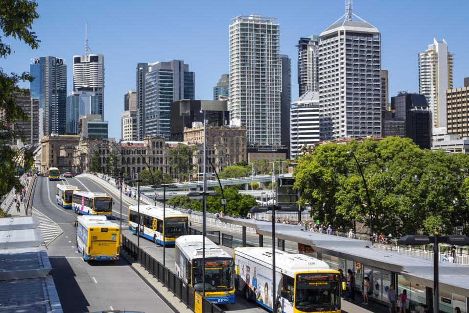 Australia, Queensland, Brisbane, Victoria Bridge Cultural Center bus station arriving departing