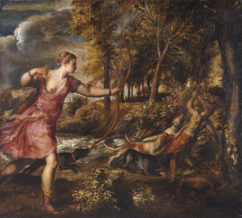 painting of woman and hounds in woods
