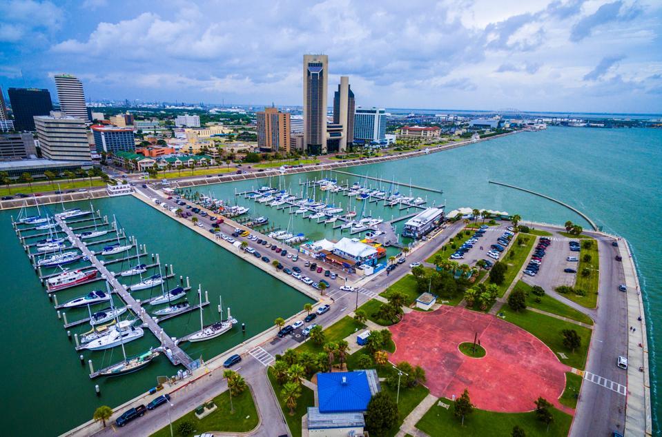 Corpus Christi Texas Aerial Over Marina