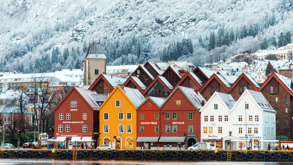 The protected Hanseatic houses at Bergen's Bryggen in the winter.