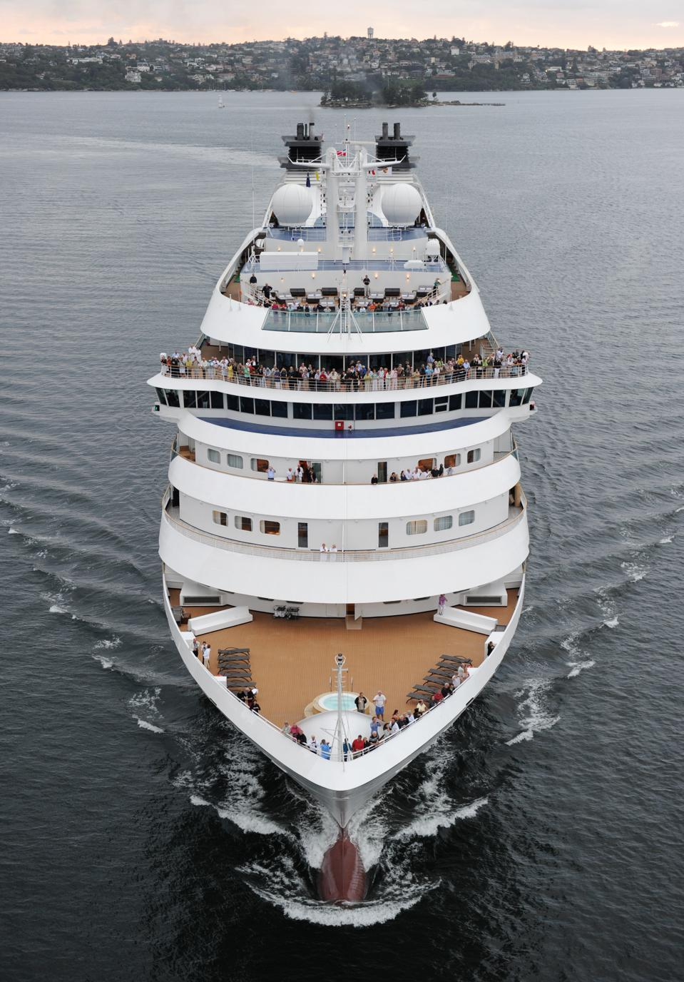 The $300 million Seabourn Odyssey, arriving in Sydney Harbour