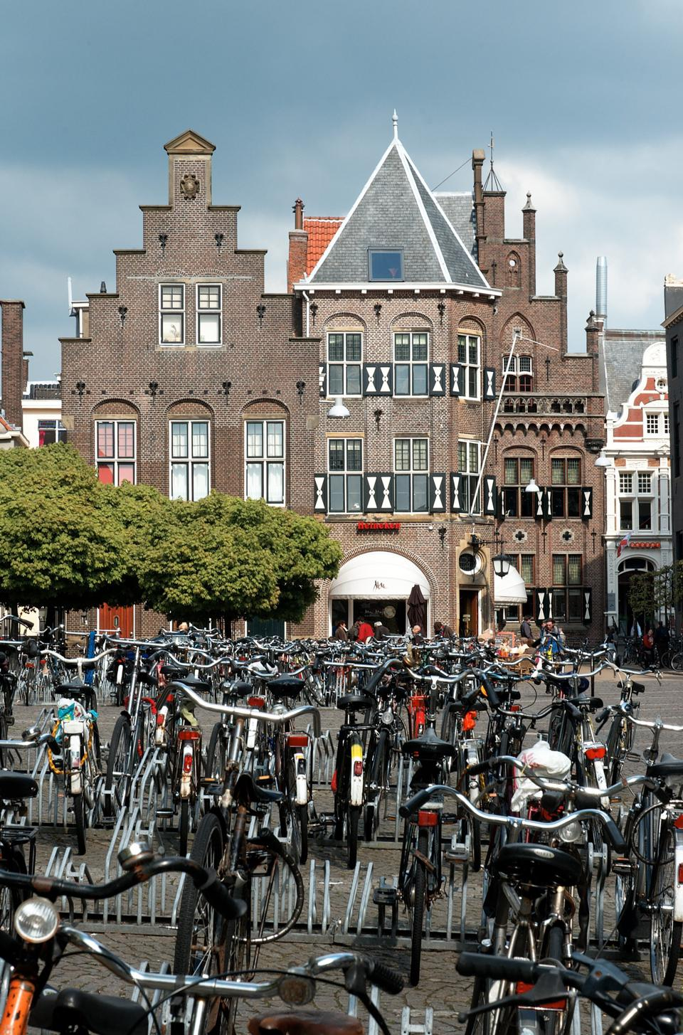 The Netherlands, Groningen center: bicycles in the Broerstraat, May 2, 2008