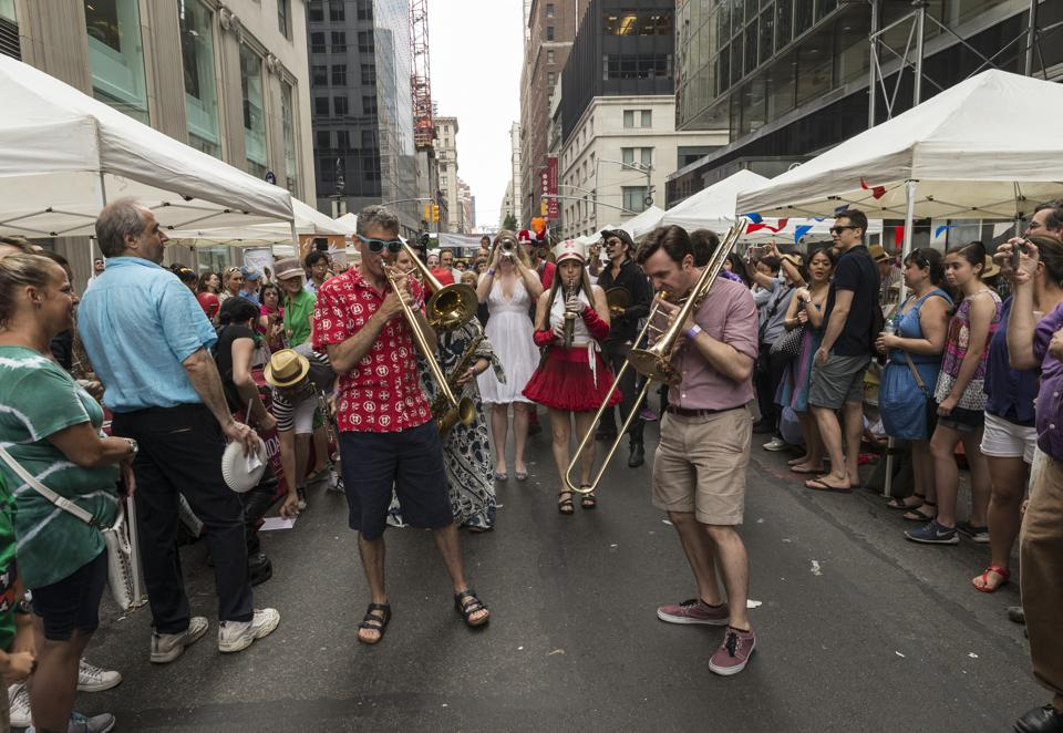 Atmosphere during Bastille Day celebration on 60th street in...
