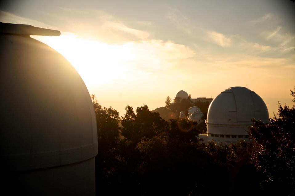 Sunlight glowing around Lick Observatory.