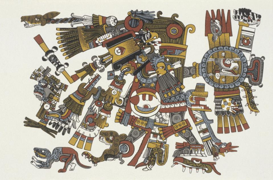 prehispanic america, high culture regions, mexico, mesoamerica: art objects, religion: Codex Borgia (Aztec/Mixtec, Puabla/Cholula region) pictorial manuscript (augural calendar 'Tonalamatl) of eraly 16th cent.. Plate 17 -  God 'Yayauhqui Tezcatlipoca