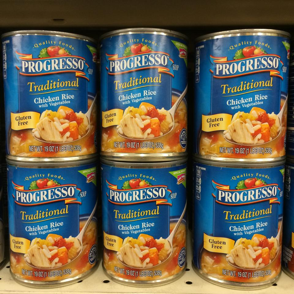 Progresso chicken rice soup in a can