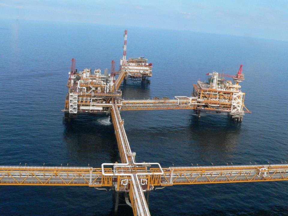 QatarGas offshore drilling rig in the Persian Gulf.