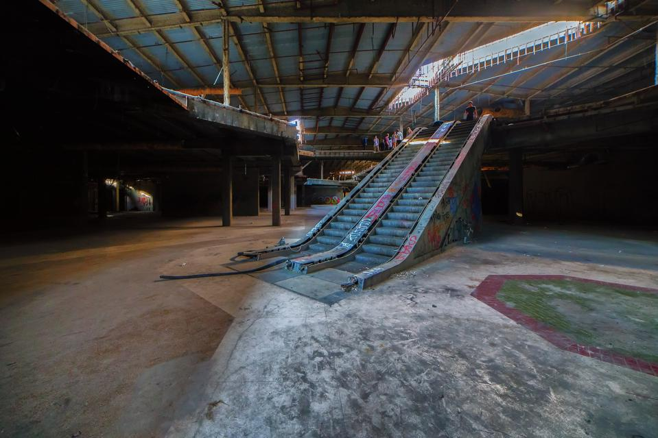 Escalators In Abandoned Shopping Mall
