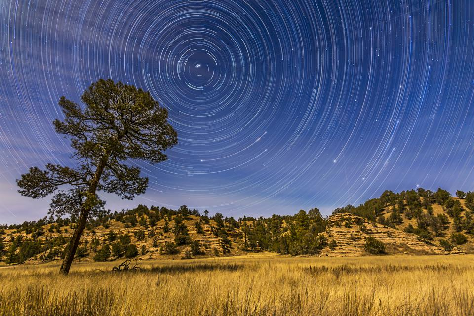 Circumpolar star trails over Mimbres Valley in the Gila National Forest, New Mexico.