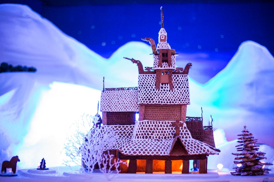 A gingerbread version of a Norwegian stave church