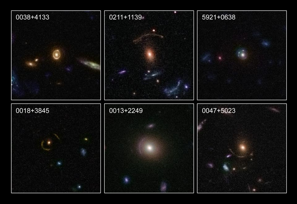 This image showcases six examples of strong gravitational lenses.