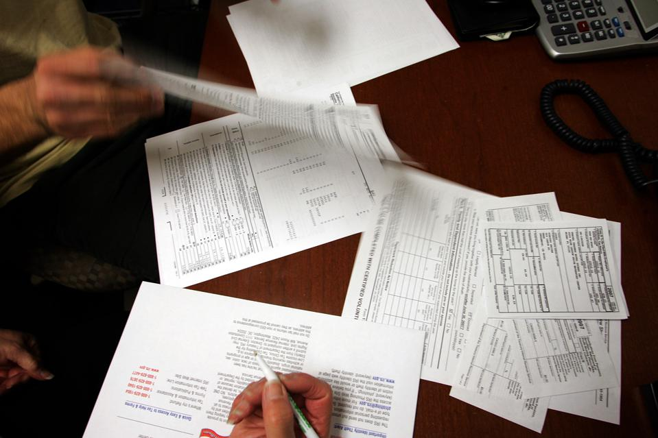 A tax return is prepared at the Inglewood location of the Southern California Tax Assistance Progra