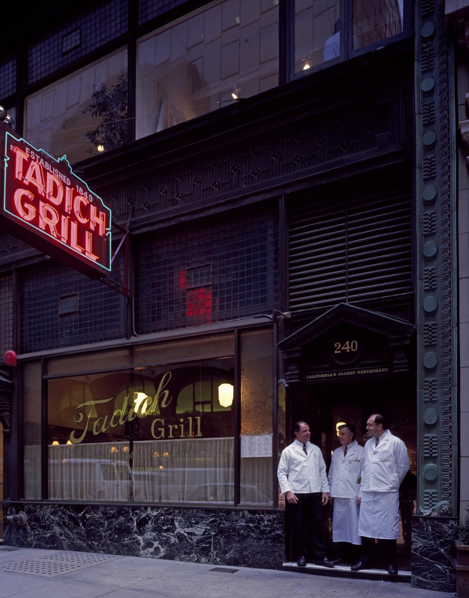 Staff on break at the Tadich Grill in San Francisco, California