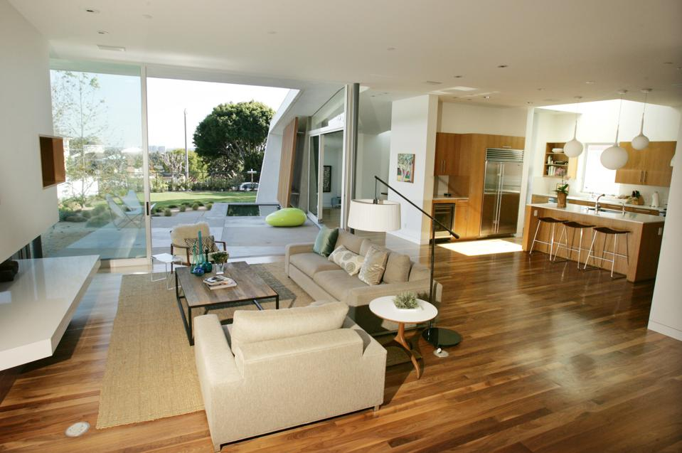 The living room and the kitchen of a Santa Monica house