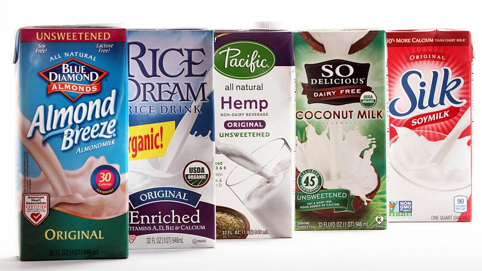 LOS ANGELES, CA - MARCH 31, 2014: Almond, rice, hemp, coconut and soy milk  on MARCH 31, 2014. Not m