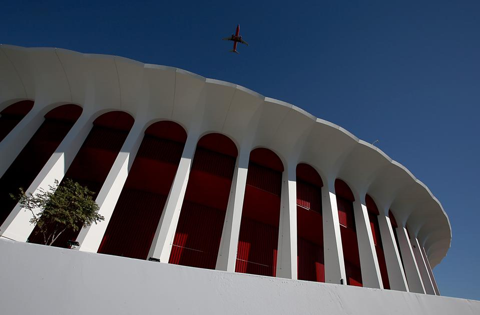 INGLEWOOD, CALIF. - JAN. 14, 2014. The exterior of The Forum in Inglewood has beeen repainted in its