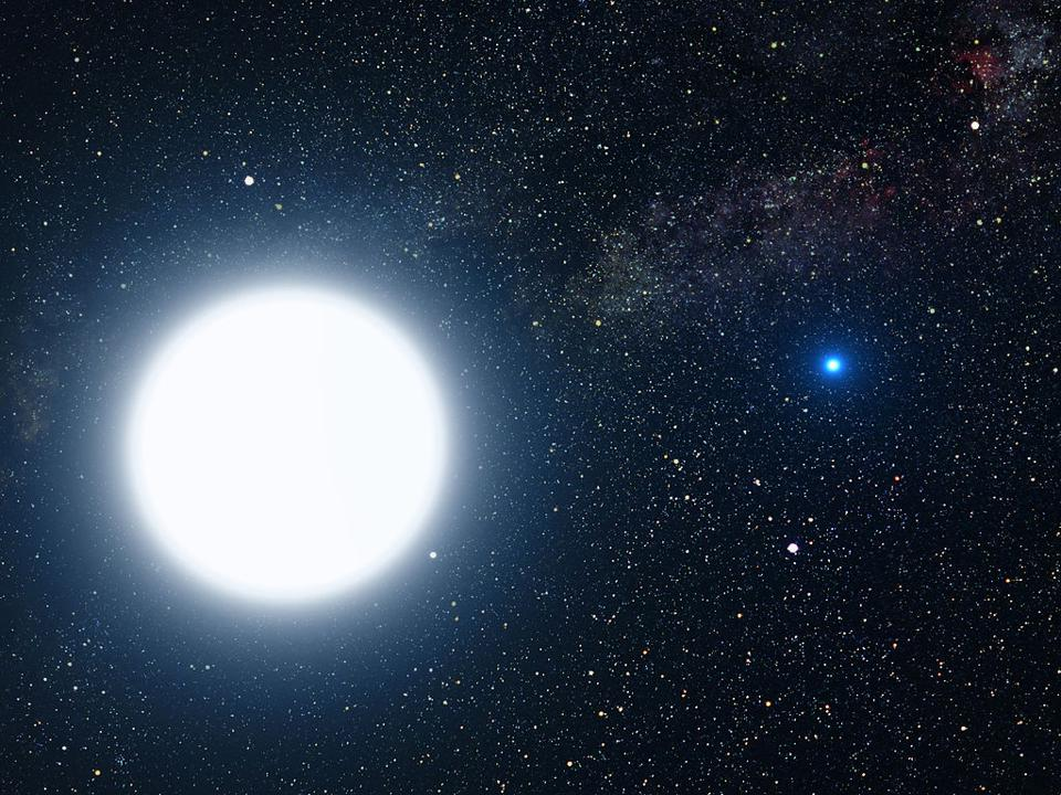Sirius A and B, a normal (Sun-like) star and a white dwarf star in a binary system.
