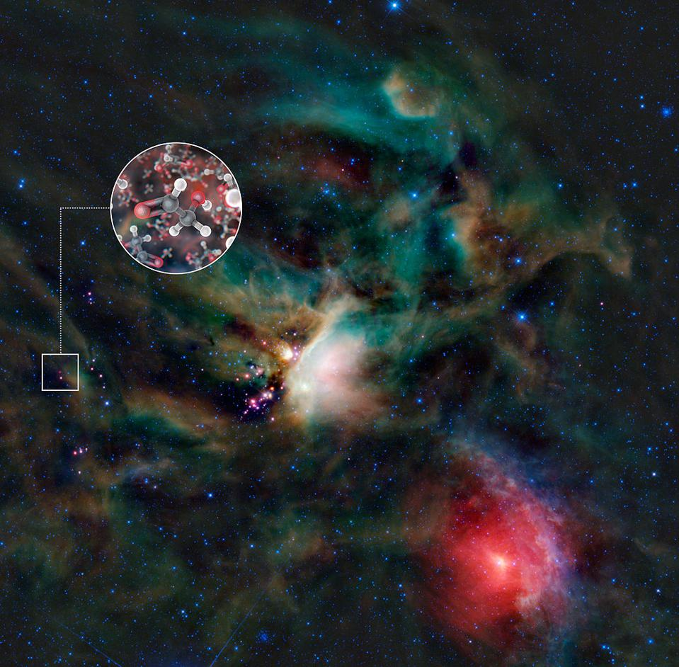 The presence of glycoaldehydes, a set of simple sugars, in an interstellar gas cloud.