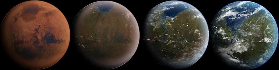 A possible pathway for the eventual terraforming of Mars to be more Earth-like.