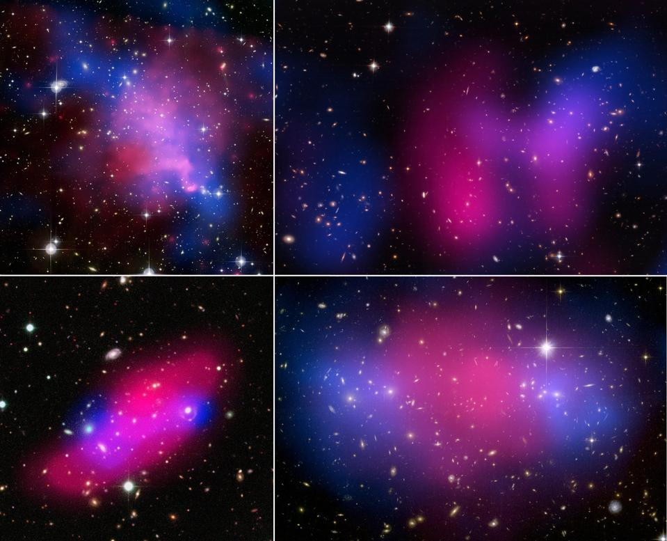 Four colliding galaxy clusters, showing separations between X-rays and gravitation.