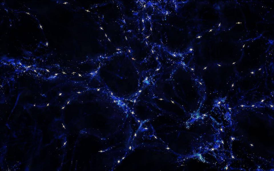 Quasar alignment silhouetted against the large-scale structure of the Universe.