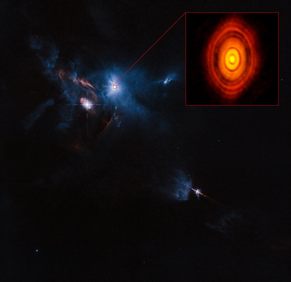 The protoplanetary disk around the star HL Tauri, as viewed by ALMA.