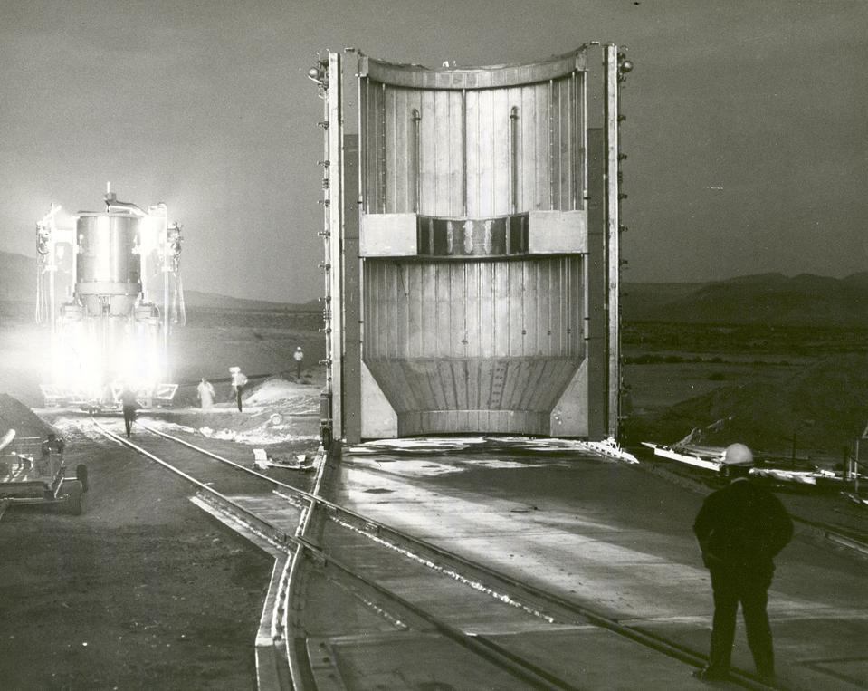 Nuclear powered rocket engine preparing for a 1967 test fire.