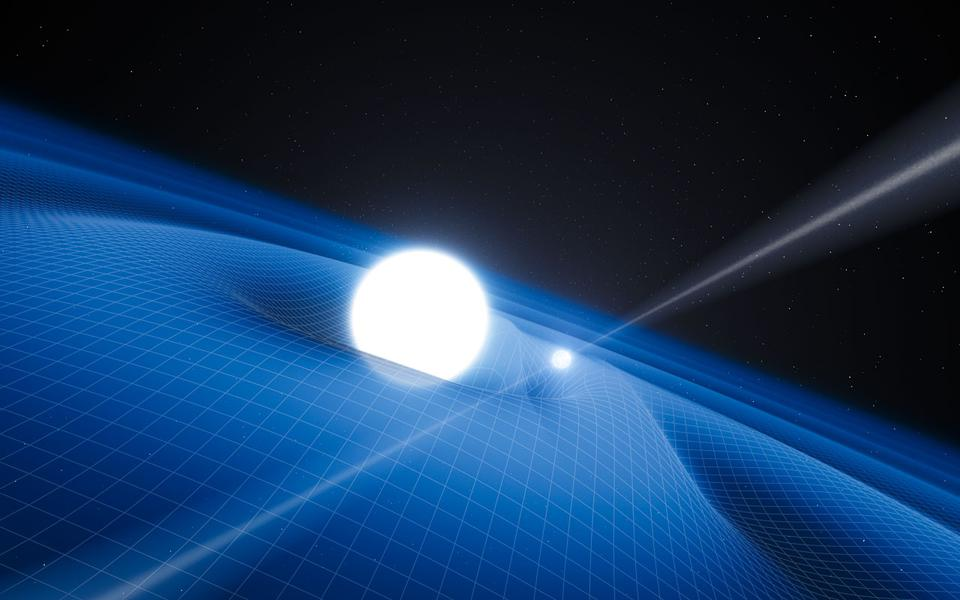 A pulsar orbiting a binary companion and the gravitational waves that ensue as a result.