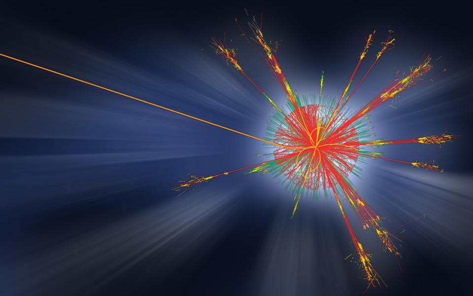 Simulated collision and debris coming from a proton-proton interaction at the LHC.