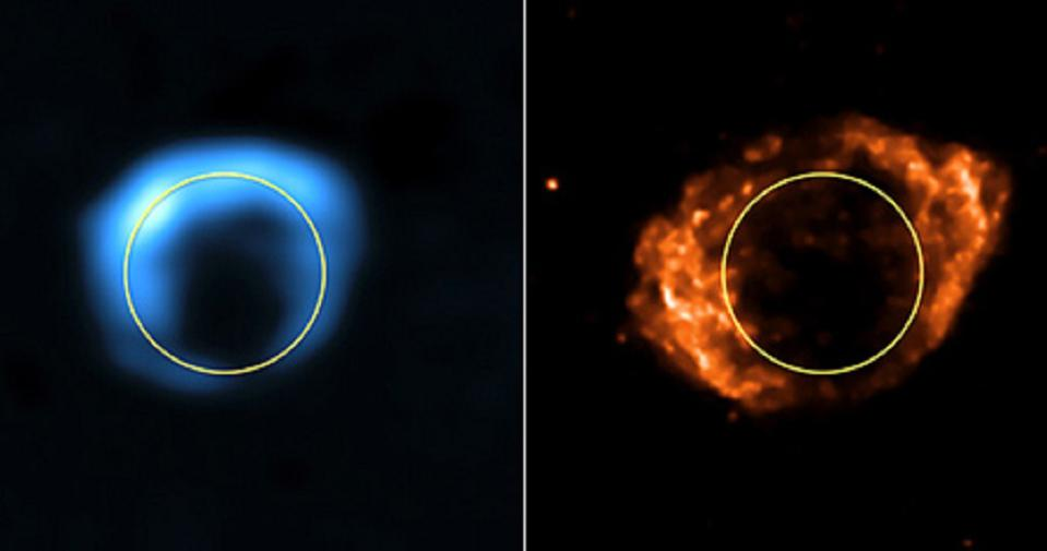 The same supernova shown in 1985 (L) and 22 years later (R).