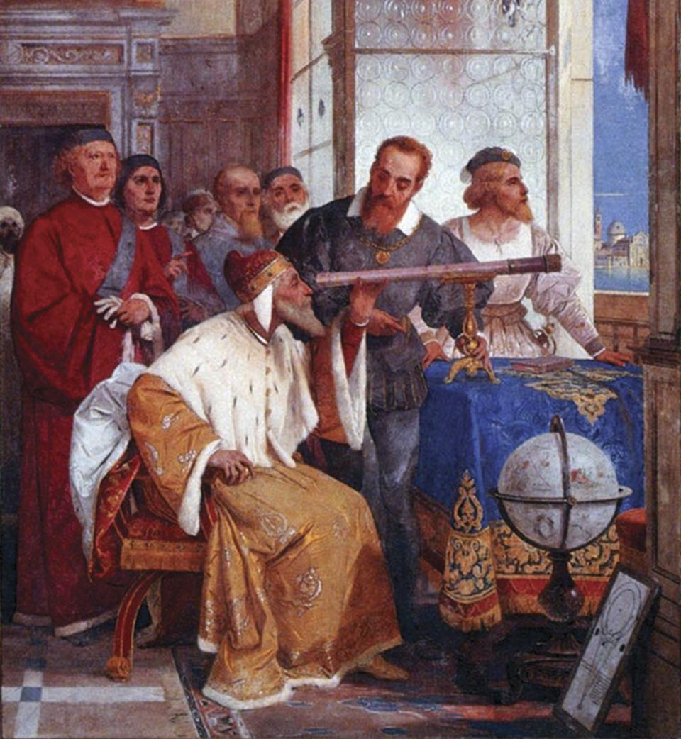 Giuseppe Bertini's artwork of Galileo showing the Doge of Venice how to use the telescope.