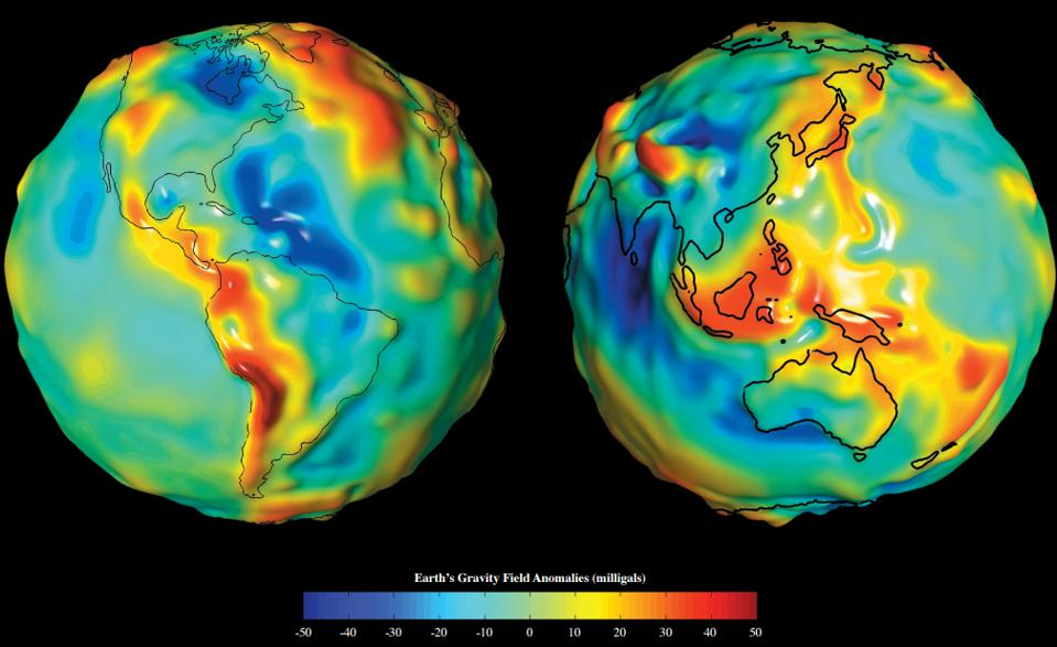 The Earth's gravitational field varies over its surface, as shown by this map.