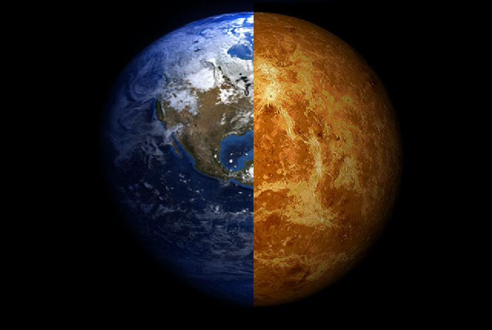 A composite image of Venus and Earth, whose radii differ by only 10 percent.