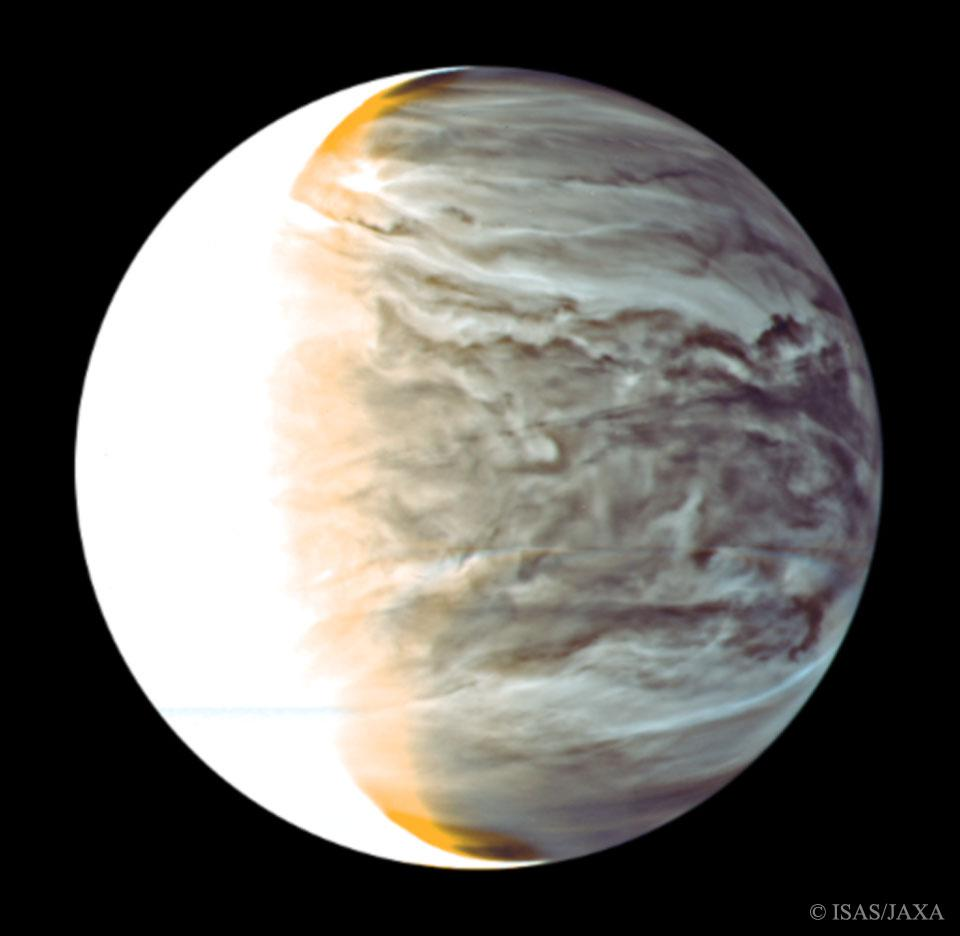 An infrared view of Venus' night side, by the Akatsuki spacecraft.