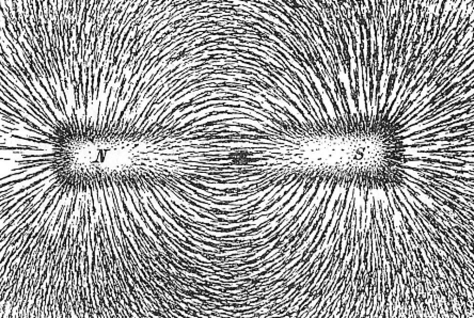 Magnetic field lines, as illustrated by a bar magnet.