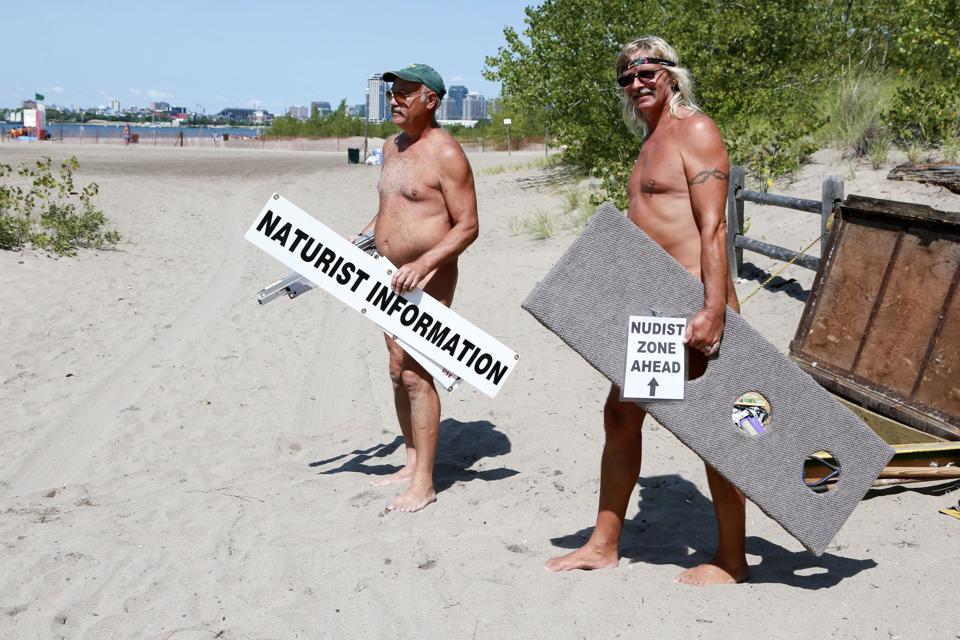 Nudist advocates David Fleming and Gene Dare