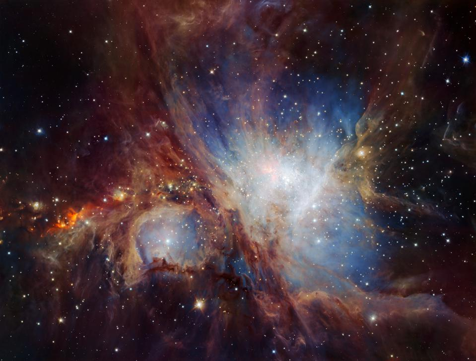 The Orion Nebula as imaged from the ESO's VLT with the HAWK-I infrared camera.