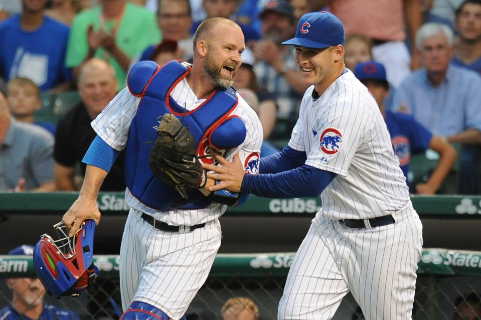David Ross and Anthony Rizzo MLB: JUN 22 Dodgers at Cubs