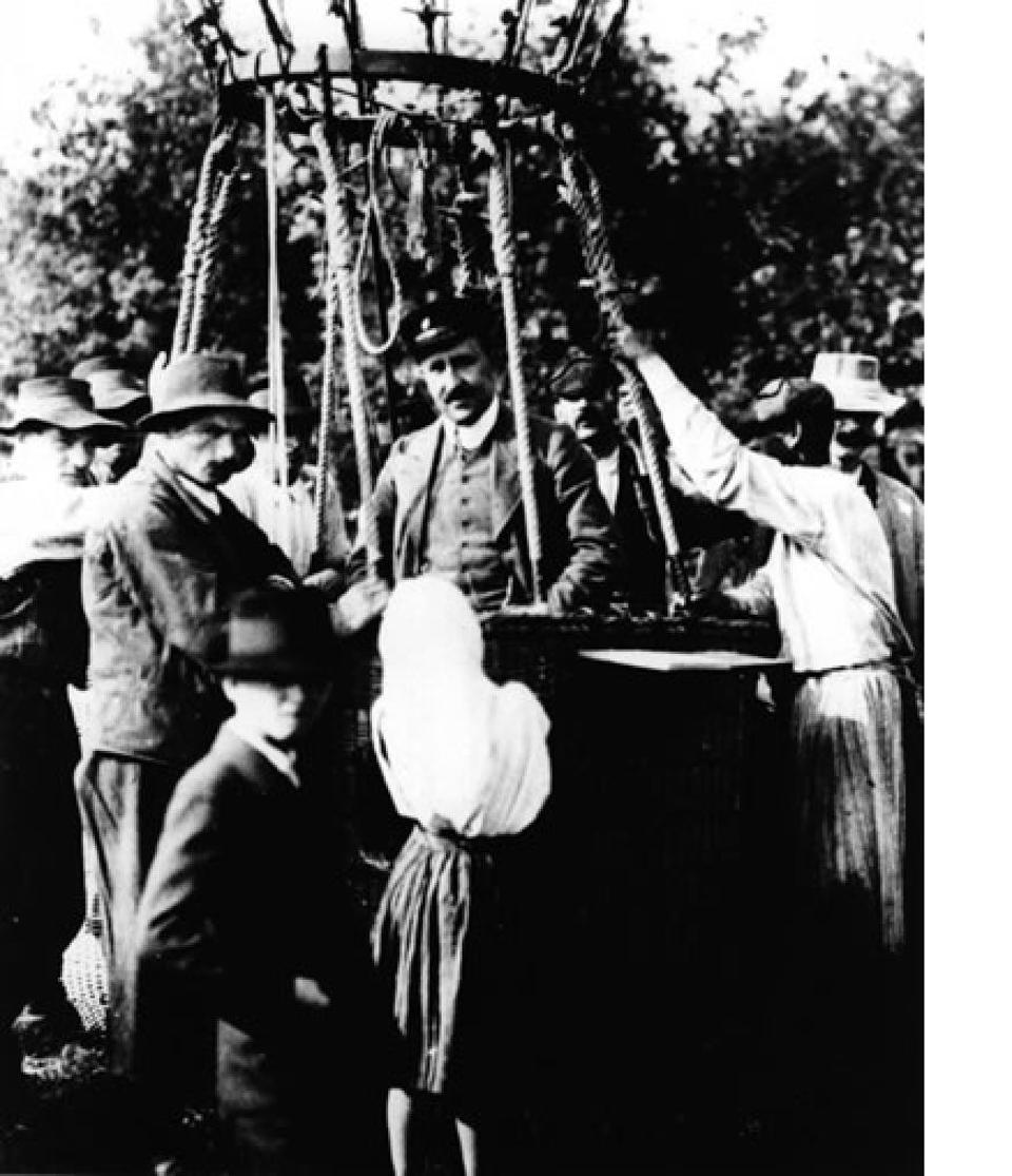 Victor Hess in his balloon-borne, cosmic ray experiment.