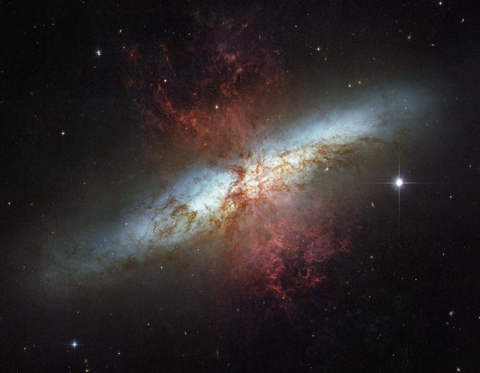 The Cigar Galaxy, M82, and its active star formation accelerating hot gas.